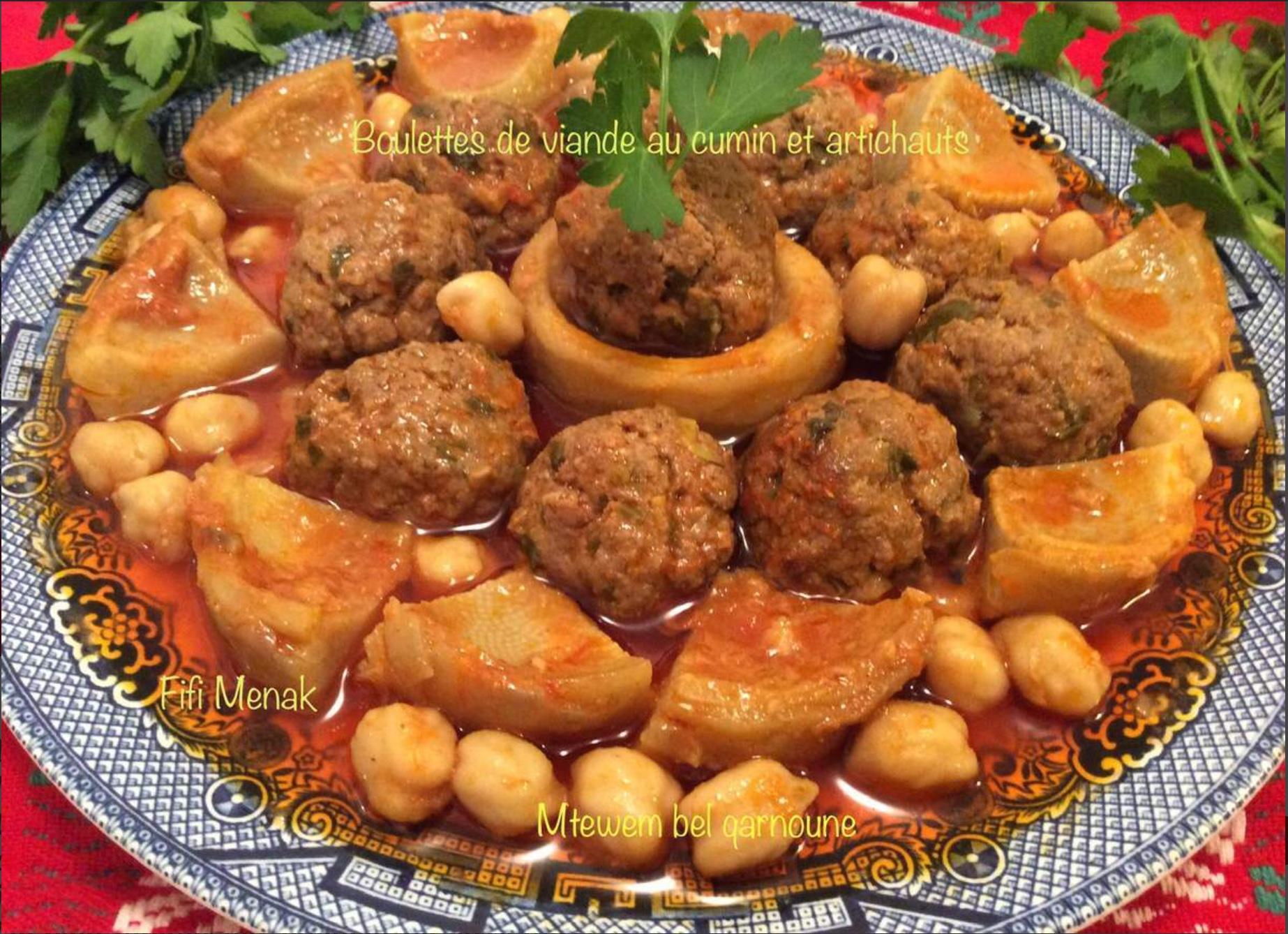 Boulettes de viande au cumin avec artichauts (Mtewem bel qarnoune)
