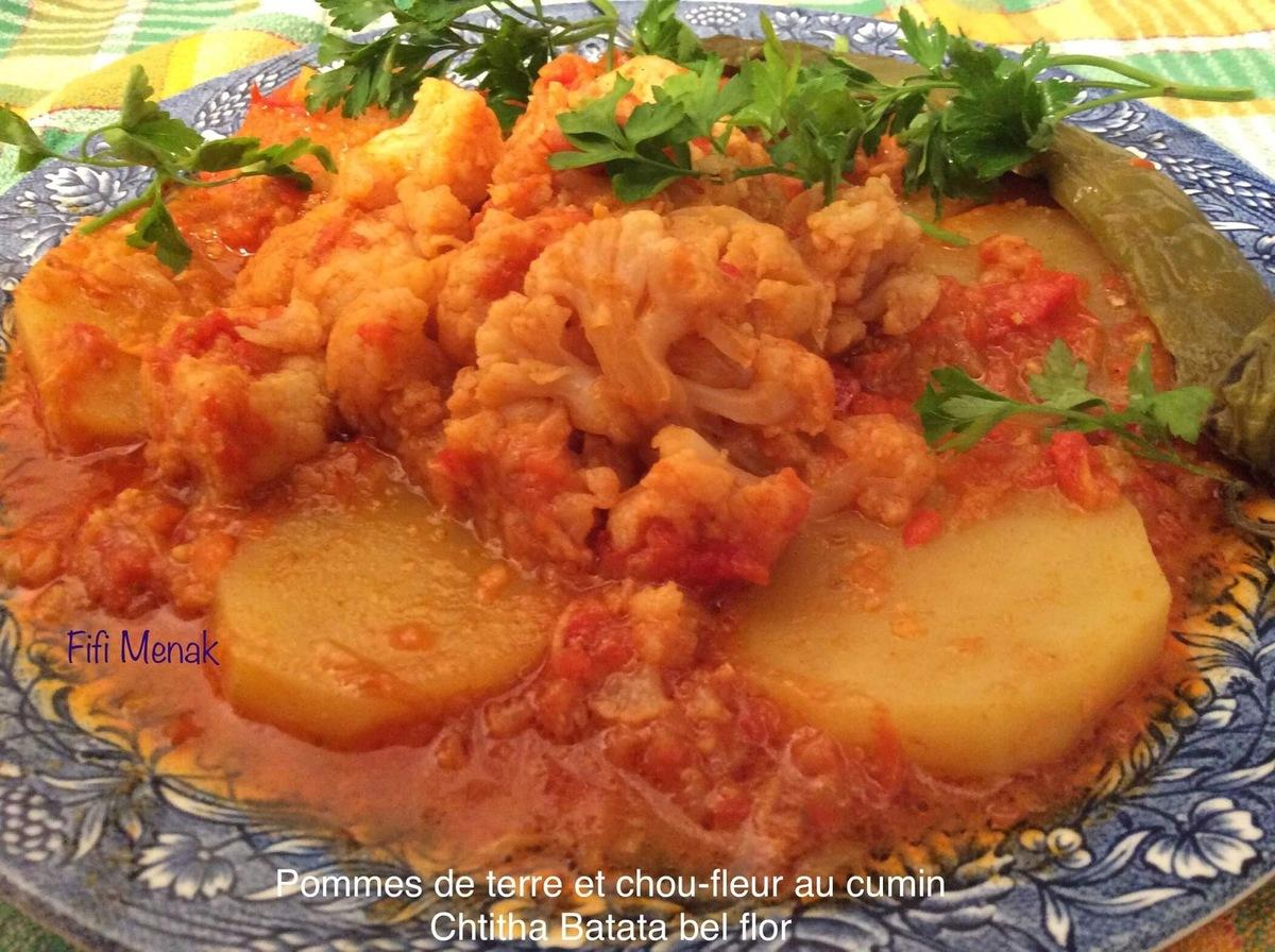 Ragoût de chou-fleur et de pomme de terre (Chtitha flor).