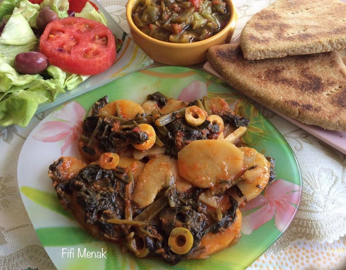 Épinards et pommes de terre aux olives