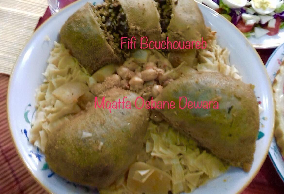 Panse farcie en sauce pour petites pates carrées (Trida b' Osbane dewara)
