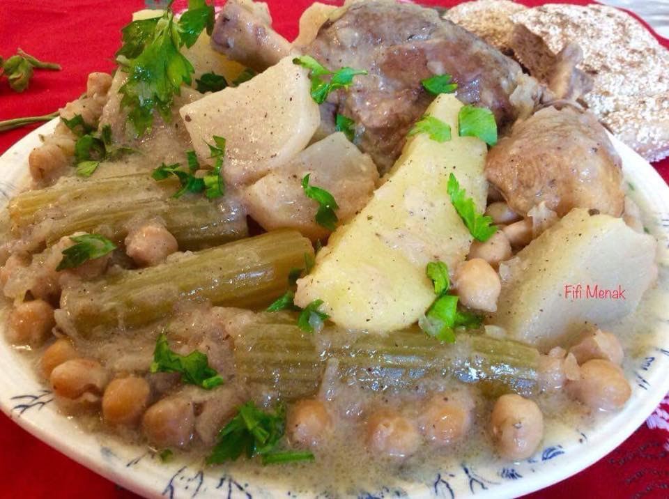 Céleri, navets et pommes de terre en sauce blanche (djwaz)