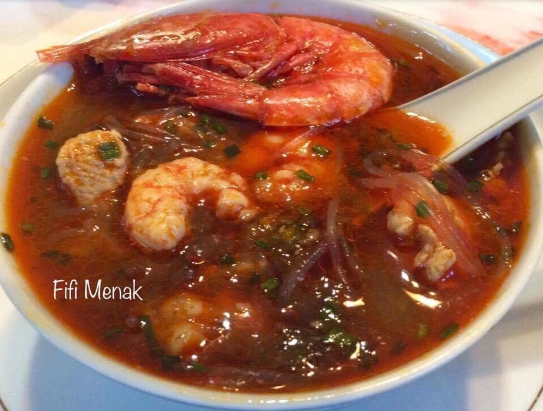 Ma soupe aux poulet et crevettes