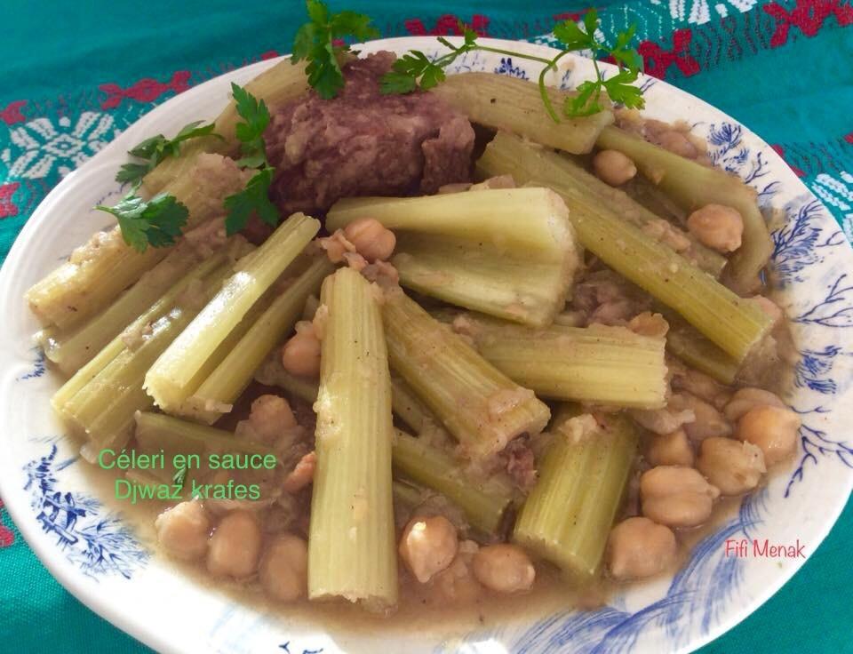 Céleri en sauce blanche à l'algéroise (Djwaz krafes)