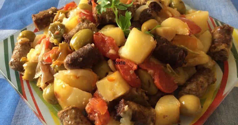 Merguez et légumes au four