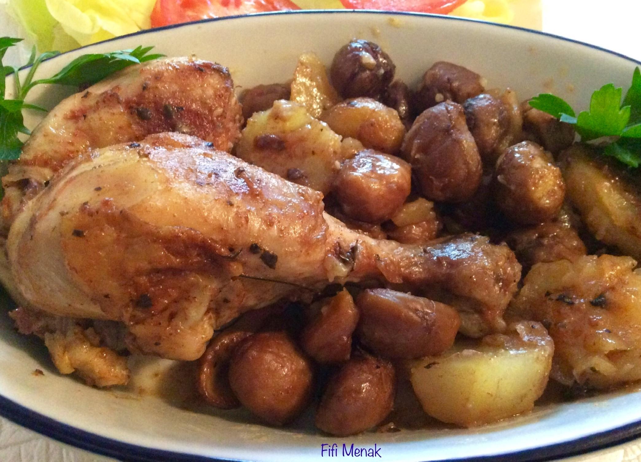 Pilons rôtis aux marrons et pommes de terre