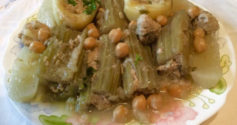 Cardons et pommes de terre farcis (Dolma khorchef-batata)