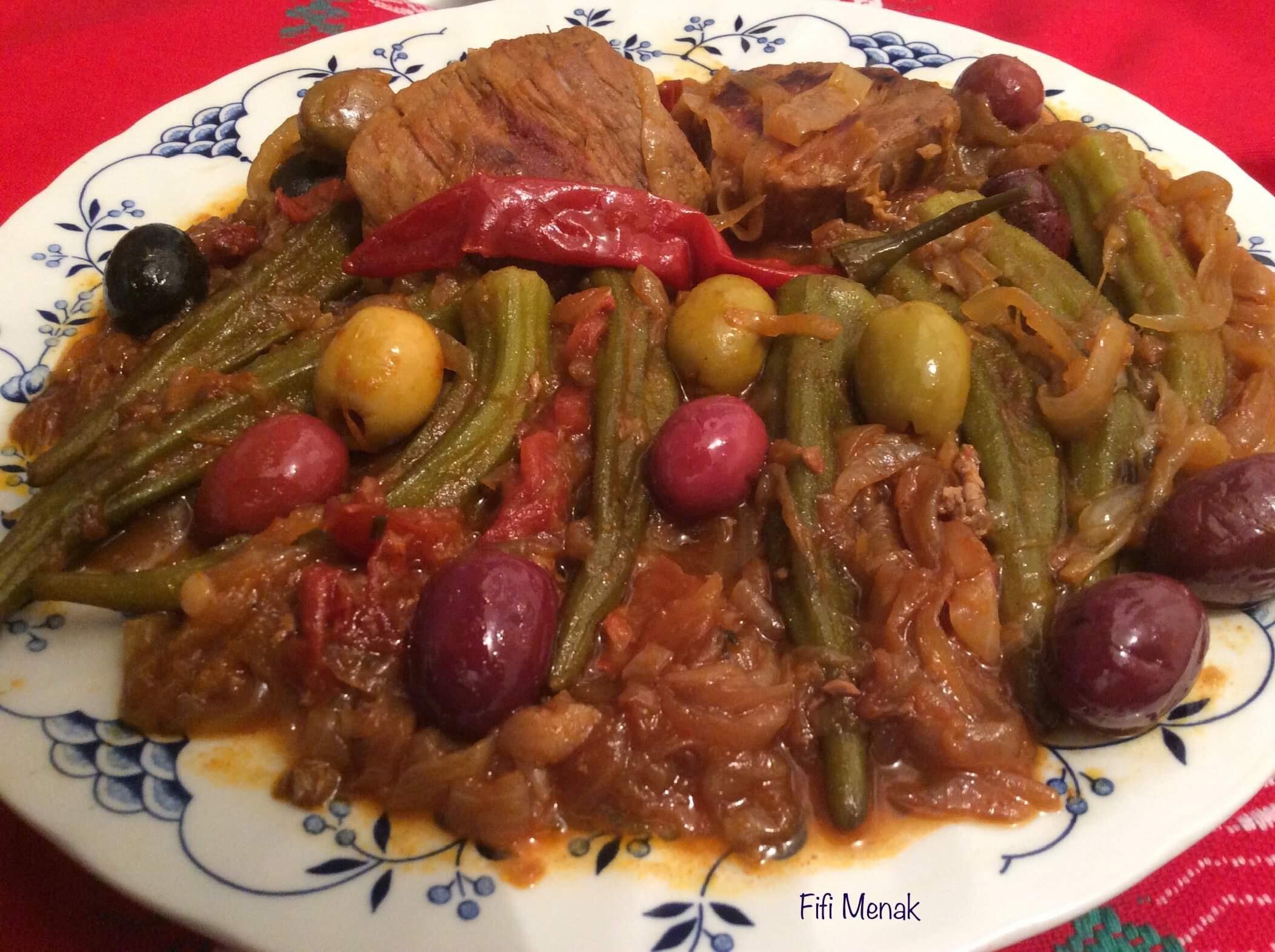 Mes gombos aux olives (gnawiya bezitoune)
