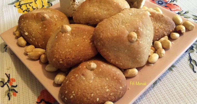 Sablés à la graine de sésame, halwa turc et cacahuètes