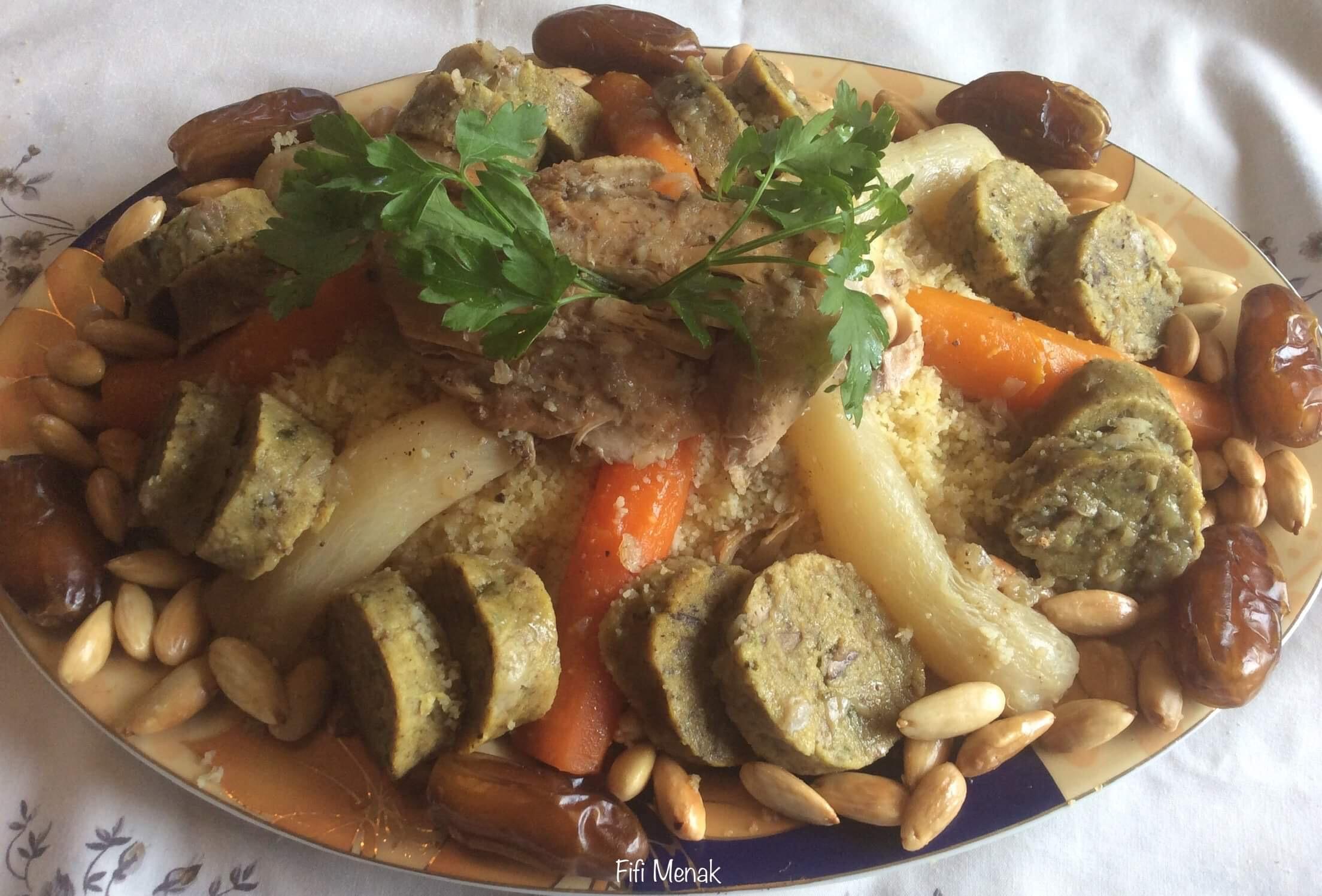 Couscous en sauce avec boudin au foie de volaille (Taam be taamir)