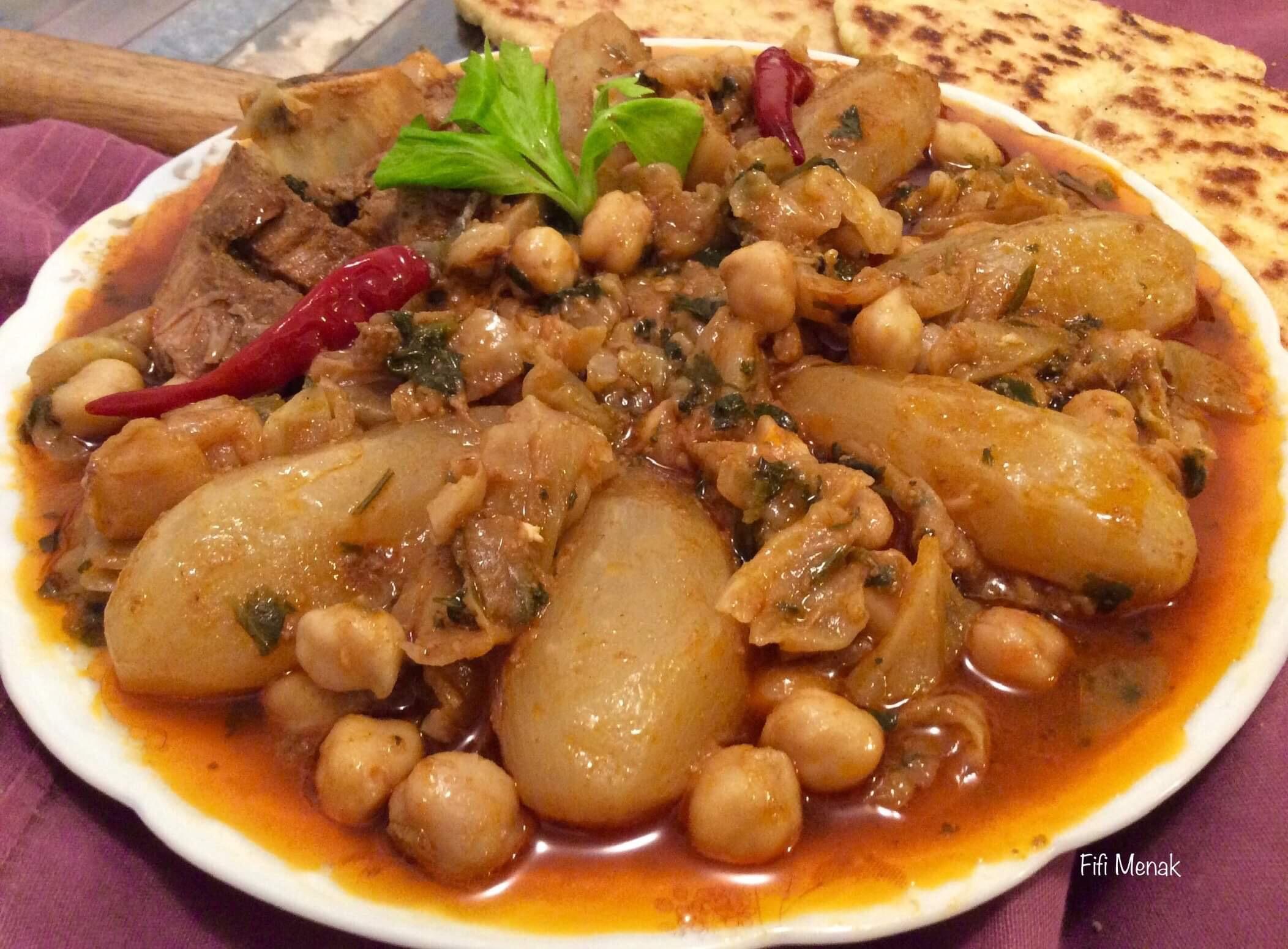 Chou et navets à la viande ( Bekbouka b'left w krombit)