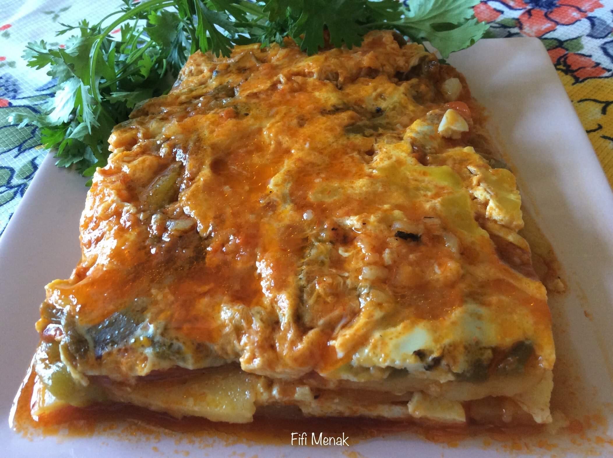 Râgout de pommes de terre aux poivrons grillés (Chtitha Batata bel felfel méchoui)