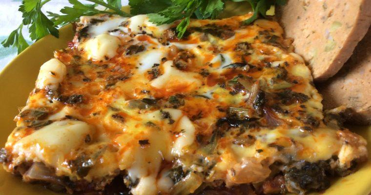 Omelette aux pouliot et épinards