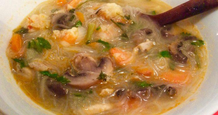 Ma soupe aux champignons et crevettes