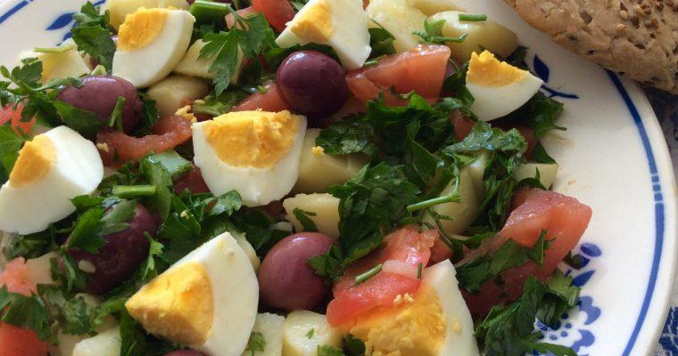 Salade algérienne de pommes de terre au poireau.