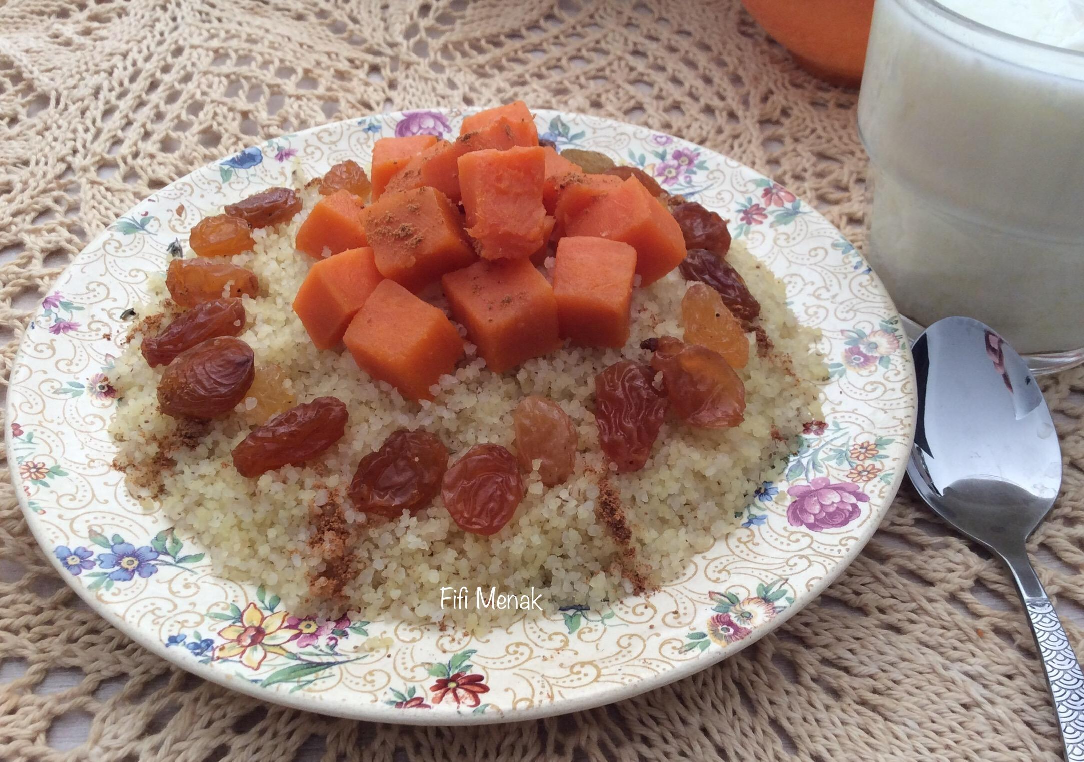 Ma seffa à la patate douce et aux raisins secs